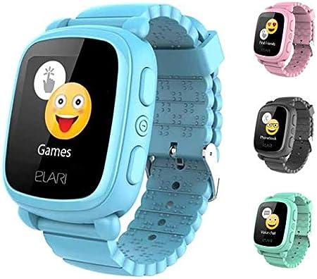 Elari 2G Reloj Inteligente Niño y Niña GPS Localizador y Llamadas Bidireccionales Audio, Chat de Voz, Botón SOS, Pantalla Táctil Grande y Brillante, Juegos KidPhone 2 (Azul)