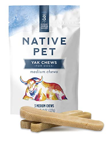 Native Pet Yak Chews for Dogs (3 Medium Chews). Pasture-Raised and Organic Himalayan Churpi Chew. Long Lasting, Low Odor, and Protein Rich Reward Treat.