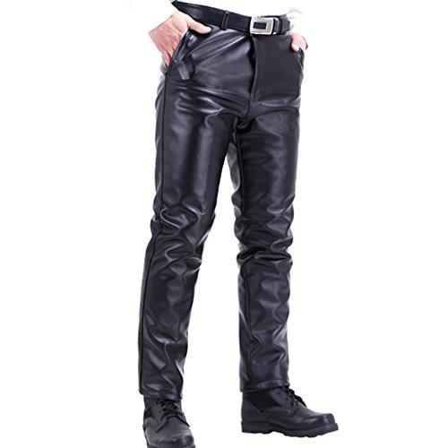 Stunner Men's Winter Plus Velve Thick Straight Pu Leather Biker Pants CN Black 34 ()