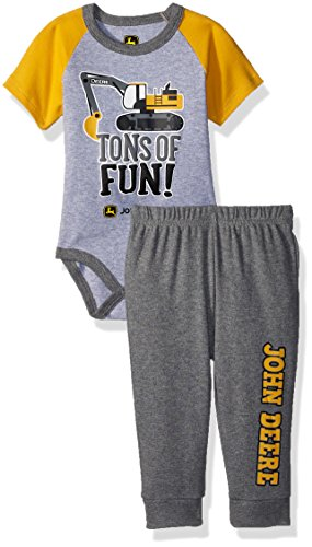 John Deere Baby Boys Bodysuit & Pant Set, Heather Grey/Construction Yellow, 9/12 Month