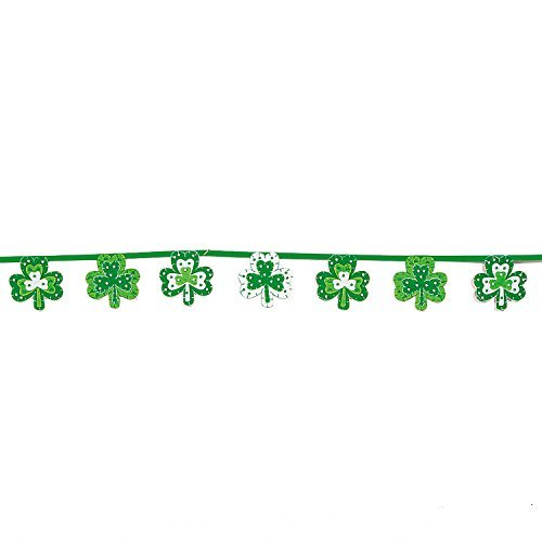 St. Patrick's Day Shamrock Felt Garland with Bead Accents - 6 Feet by TVOT