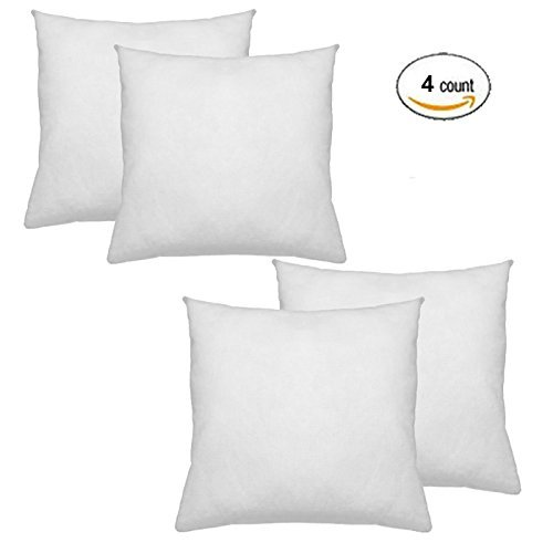 "Price comparison product image IZO All Supply Square Sham Stuffer Hypo-Allergenic Poly Pillow Form Insert, 20"" L x 20"" W (4 Pack)"