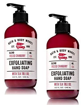 Set of 2 Bath and Body Works Frosted Cranberry Exfoliating Hand Soap With Tea Tree Oil 8.3 Ounce