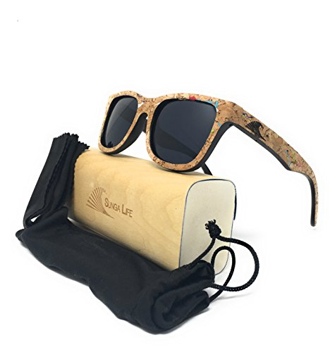 Cork Bamboo Sunnies with Polarized Black Lens, Floating Wayfarer Sunga Life Sunglasses | Loudmouth Patriot - Sunnies Polarized