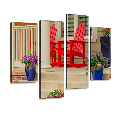 Old Fashioned Home Front Porch with red Rocking Chairs (P) Canvas Wall Art Hanging Paintings Modern Artwork Abstract Picture Prints Home Decoration Gift Unique Designed Framed 4 Panel
