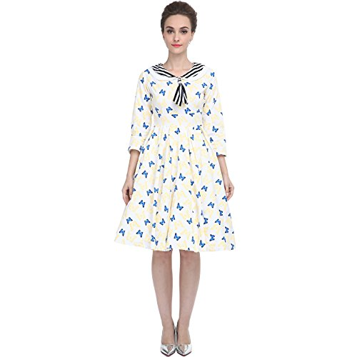 Heroecol Womens Vintage 1950s Dresses Sailor Neck 3/4 Sleeve 50s 60s Style Retro Swing Cotton Dress Blue Butterfly 2XL