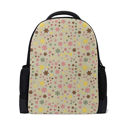 Chunky Snowflakes Colorful Backpack Bookbags Waterproof Travel Daypack Bag Rucksack
