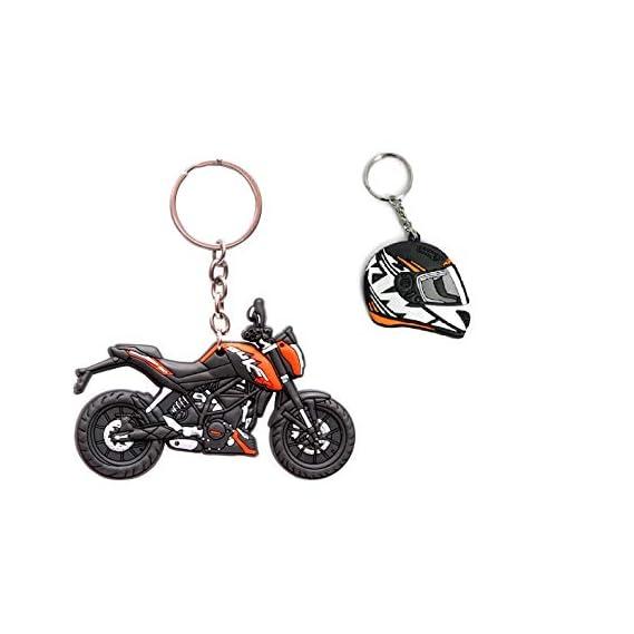 MJ Ragav Single Sided Ready to Race KTM Duke Bike with Helmet Shape Keychain Combo (Pack - 2)