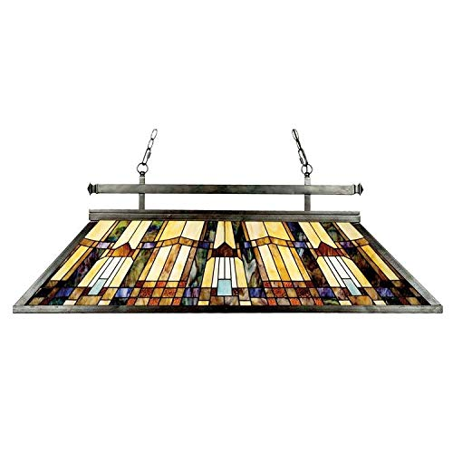 Style Island Tiffany Chandelier - Quoizel TFIK348VA Inglenook Tiffany Pool Table Island Chandelier, 3-Light, 300 Watts, Valiant Bronze (18