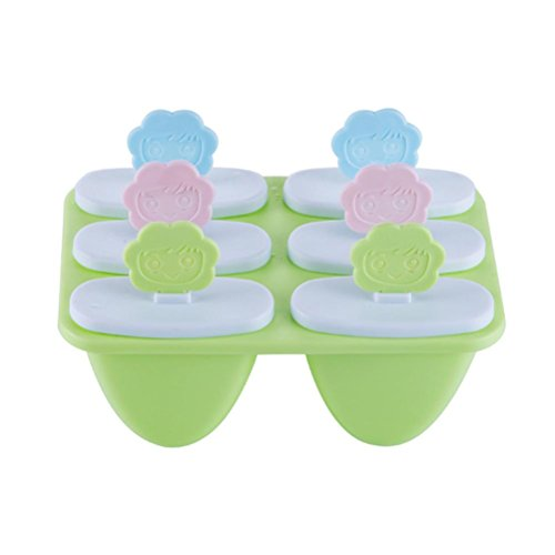 Lolly Mould Tray -Vibola 6 holes Cell Pop Popsicle Maker Kitchen Frozen Ice Cream DIY Mold (green)