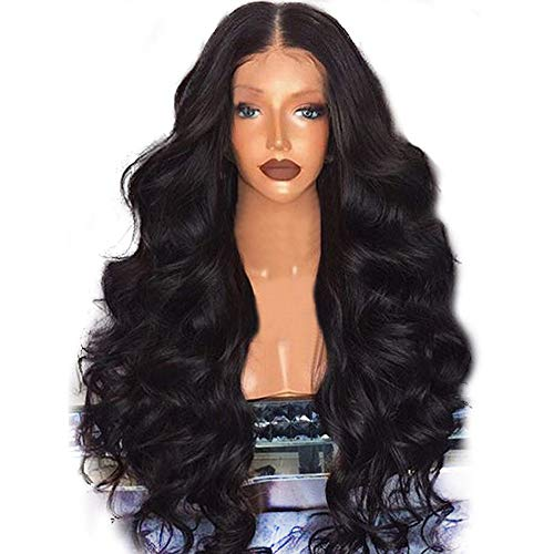 JPJ(TM) ❤️Women Wig ❤️Girls Sexy Charming Brazilian Remy Human Hair Body Wave Lace Front Human Hair Wigs (Black)