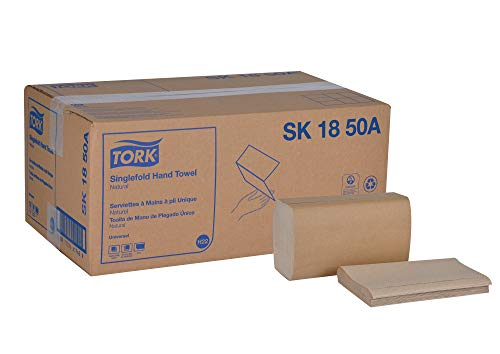 "Tork Universal SK1850A Singlefold Paper Hand Towel, 1-Ply, 9.125"" Width x 10.25"" Length, Natural, Green Seal Certified (Case of 16 Packs, 250 per Pack, 4,000 Towels)"