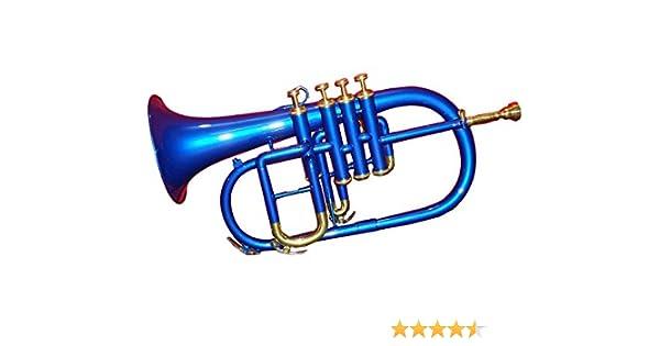 Musikinstrumente Learned High Grade Blue Brass Finish Bb Flat Flugel Horn Free Hard Case+mouthpiece