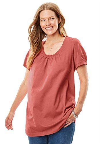 Women's Plus Size Perfect Shirred U-Neck Tunic Dusty - Tunic Cotton Shirred