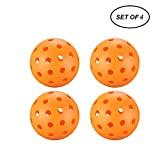 A&L Outdoor Pickleball Balls, New Concept True Flight Design 40 Hole Pickleball Balls Outdoor Set of 4, for Outdoor or Indoor (4 Pack) (Orange)