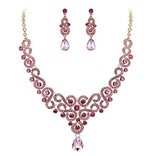 (EVER FAITH Women's Crystal Elegant Bridal Floral S-Shaped Drop Necklace Earrings Set Pink Gold-Tone)