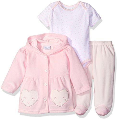 (Rene Rofe Baby Baby Girls' 3 Piece Velour Jacket Set with Lap Shoulder Bodysuit & Pant, Love Pink, 3-6 Months)