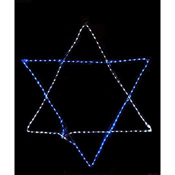 24 blue and white led rope light star of david hanging hanukkah decoration home for Decor star 005 ss