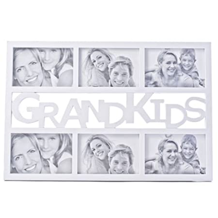 White Grandkids Multi Image Photo Frame, Cut Out Picure Holds 6 ...