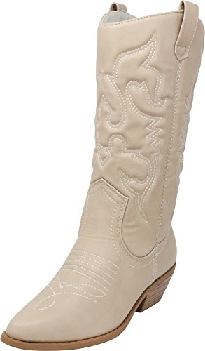 (Cambridge Select Women's Cowboy Western Pointed Toe Knee High Pull On Tabs Boots,9 B(M) US,Light Grey Pu)