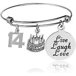 14th Birthday Bangle Bracelet