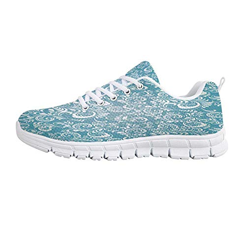 Light Blue Comfortable Sports Shoes,Stylized Floral Frosty Pattern Artistic Display Winter Snow Ice Hoar Theme Decorative for Men & Boys,US Size 10.5