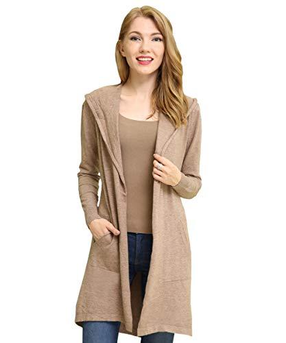 BIMOZI Women Hooded Cardigan Sweater Drape Open Front Asym with Pockets Khaki XL