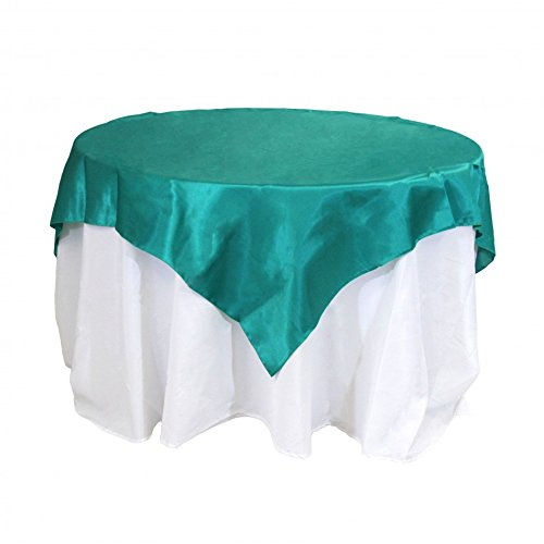 (Koyal Wholesale Square Satin Overlay Table Cover, 60 by 60-Inch, Emerald Green )