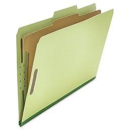 Universal 10261 Pressboard Classification Folder, Legal, Four-Section, Green, 10/Box
