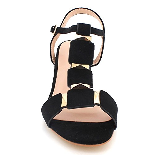 AARZ LONDON Women Ladies Evening Open Toe Summer Casual Party Comfort Medium Block Heel Sandals Shoes Size Black It9qXndkX