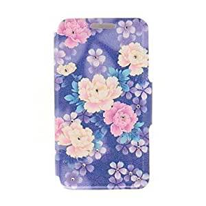Mini - Kinston Color Floral Leaf Diamond Paste Pattern PU Leather Cover for iPhone 6
