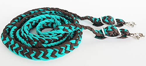 - Challenger Tack Horse Western Knotted Nylon Braided Barrel Roping Reins Teal Brown 60764TL