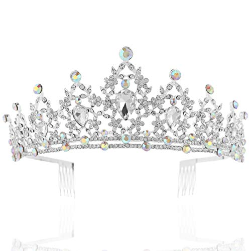 BABEYOND Vintage Crystal Queen Crown Prom Pageant Quinceanera Crown Tiara Rhinestone Wedding Princess Tiara Headband with Comb Pin (Silver-1)