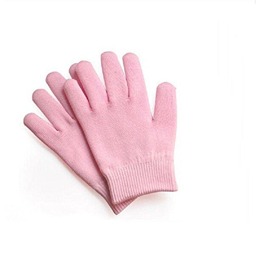 Pinkiou Gel SPA Moisturizing Gloves Soft Cotton with Thermoplastic Repair Cracked Cuticles Dry Skin Treatment Hydrating Gel Lining Infused with Essential Oils Vitamins Large Size(Gloves, pink)