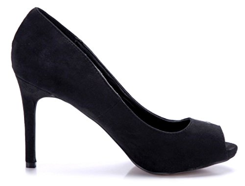 Schuhtempel24 Damen Schuhe Peeptoes Pumps Stiletto 10 cm High Heels Schwarz