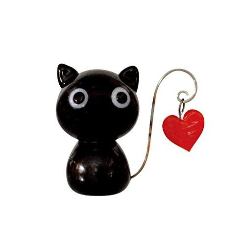 Glass Cat Swing Heart (Black)