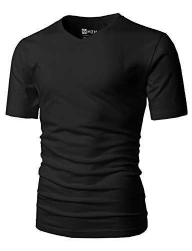 H2H Mens Must Have for Daily V-Neck Slim Fit Basic T-Shirts Black US M/Asia L (CMTTS0197) from H2H