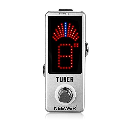 Neewer® Mini Chromatic Guitar Tuner Pedal True Bypass with Visible Luminous LED Display for Electronic Guitar, Silver