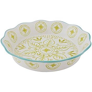 Creative Co-Op Green & Blue Stoneware Hand-Stamped Pie Dish