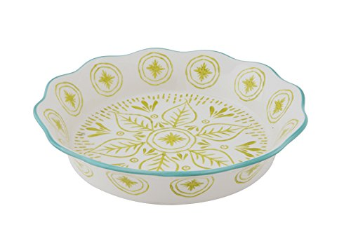 Creative Co-Op Stoneware Hand-Painted Pie Dish, Multicolored