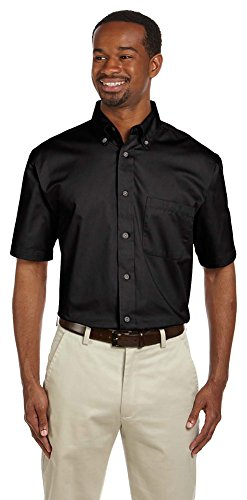 Harriton Men's Easy Blend Twill Shirt With Stain-Release, 3XL, Black (Best Clothing Websites For Black Friday)