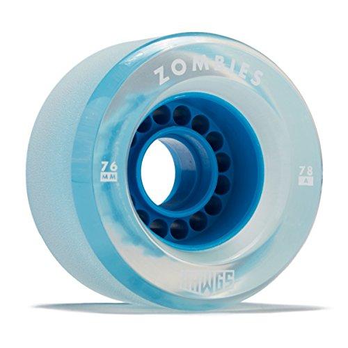 Hawgs Clear Zombie Longboard Wheels - 76mm - 78a - Blue (Hawgs Longboard Wheel)