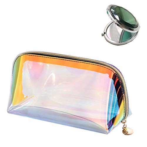 NAKIO TPU Holographic Clear Makeup Bag for Women Girls, Cosmetic Bag Make up Pouch/Clutch Cute Transparent Small Waterproof Handy Hologram Half Moon with Gold Zipper for ToiletryPencil - BONUS - Zip Moon Half