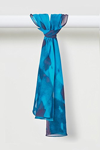 Fire Gaze Scarf Silk Chiffon in Blues by Louis Jane  (''Where Nature Meets Art''TM)