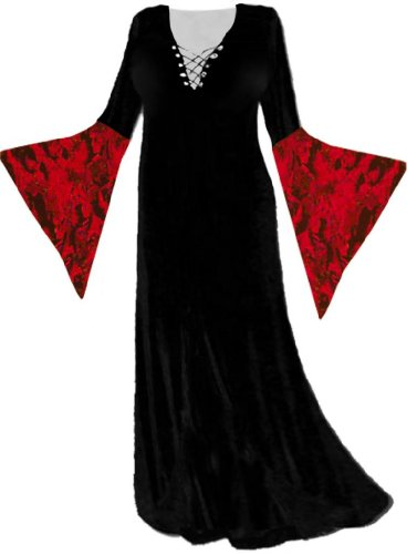 Sanctuarie Designs Women's Black Dress Red Sleeves Gothic