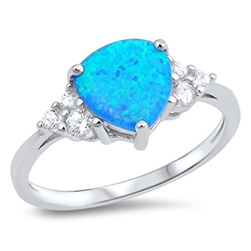 Trillion Cut Lab Created Blue Opal Round Cubic Zirconia Accent 925 Sterling Silver Ring (Cut Trillion Lab)