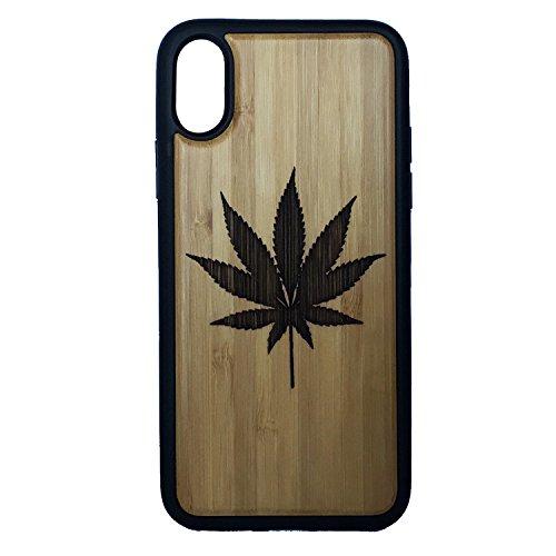 Marijuana Leaf Case for iPhone XR by iMakeTheCase | Eco-Friendly Bamboo Wood Cover + TPU Wrapped Edges | 420 Pot Weed MJ Legalize It | Cannabis Smoke Get High. (Marijuana Leaf Case)
