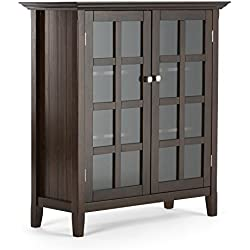 Simpli Home Acadian Solid Wood Medium Storage Cabinet, Rich Tobacco Brown