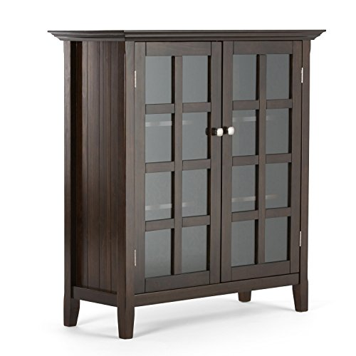 Glass Walnut Bookcase (Simpli Home Acadian Solid Wood Medium Storage Cabinet, Rich Tobacco Brown)