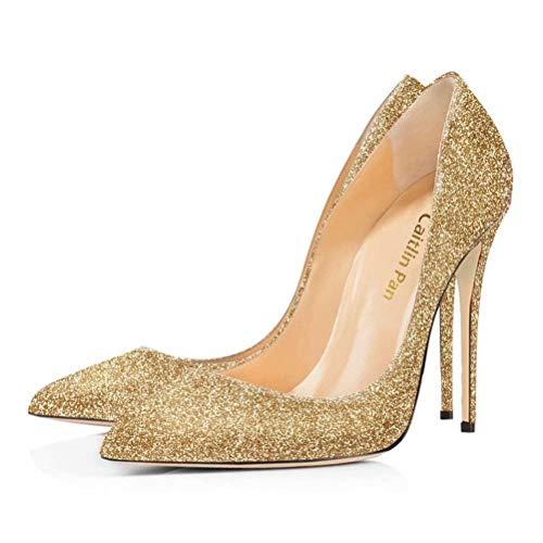 3 Toe UK Gold On Court Sexy Slip Shoes Pumps Dress Pan Red High Shoes Heel B0tt0m Basic 11 Stilettos Pointed Womens Glitter Size Formal Caitlin IRUnw